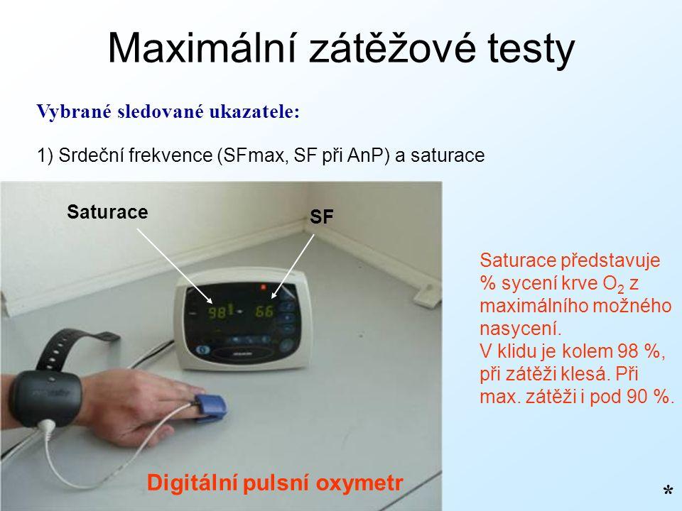 Maximální zátěžové testy Vybrané sledované ukazatele: 1) Srdeční frekvence (SFmax, SF při AnP) a saturace * Saturace představuje % sycení krve O 2 z maximálního možného nasycení.