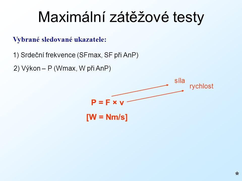 Maximální zátěžové testy Vybrané sledované ukazatele: 1) Srdeční frekvence (SFmax, SF při AnP) 2) Výkon – P (Wmax, W při AnP) P = F × v * [W = Nm/s] síla rychlost