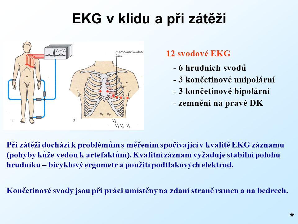 EKG v klidu a při zátěži * 12 svodové EKG - 6 hrudních svodů - 3 končetinové unipolární - 3 končetinové bipolární - zemnění na pravé DK Při zátěži dochází k problémům s měřením spočívající v kvalitě EKG záznamu (pohyby kůže vedou k artefaktům).