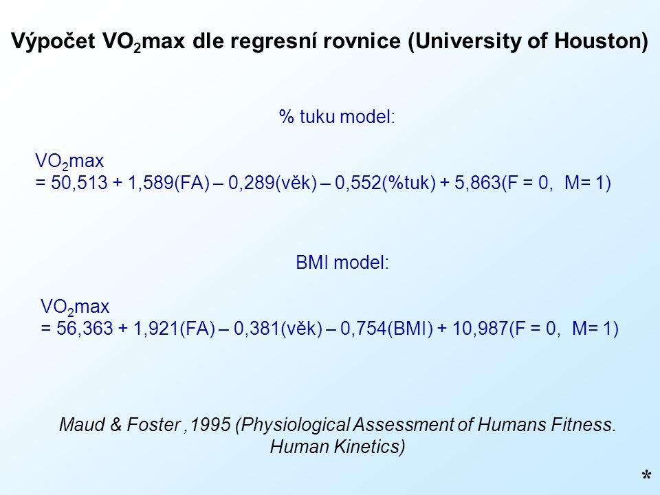 Výpočet VO 2 max dle regresní rovnice (University of Houston) * % tuku model: VO 2 max = 50,513 + 1,589(FA) – 0,289(věk) – 0,552(%tuk) + 5,863(F = 0,