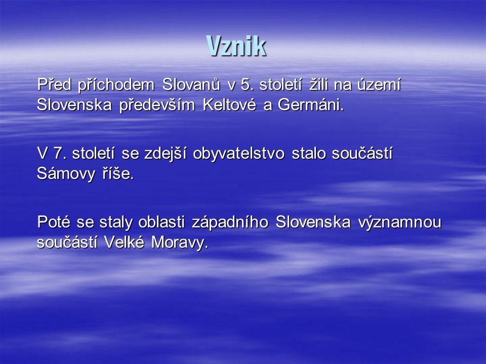 Vznik Před příchodem Slovanů v 5.století žili na území Slovenska především Keltové a Germáni.