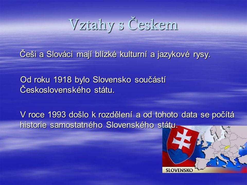 Vztahy s Č eskem Češi a Slováci mají blízké kulturní a jazykové rysy.