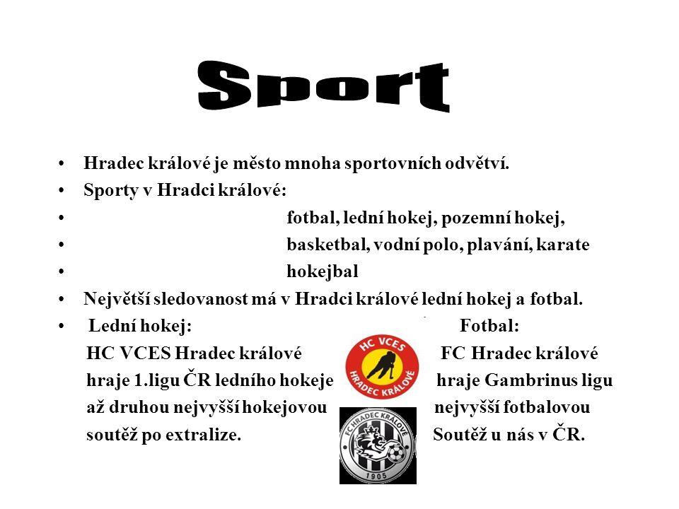 Hradec králové je město mnoha sportovních odvětví. Sporty v Hradci králové: fotbal, lední hokej, pozemní hokej, basketbal, vodní polo, plavání, karate