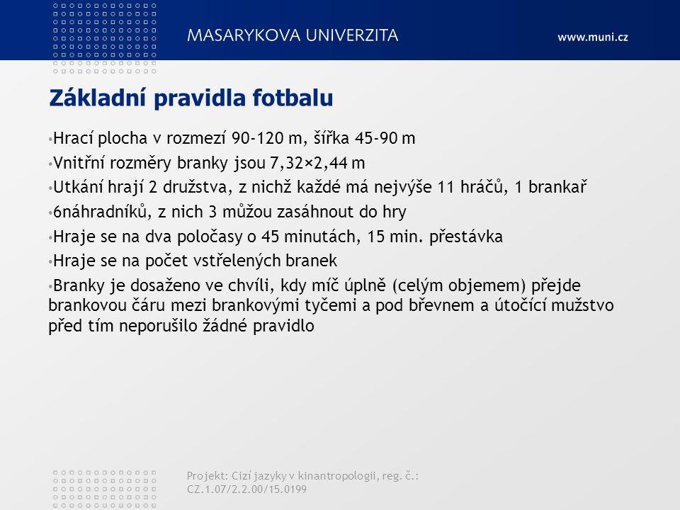 Základní pravidla fotbalu Hrací plocha v rozmezí 90-120 m, šířka 45-90 m Vnitřní rozměry branky jsou 7,32×2,44 m Utkání hrají 2 družstva, z nichž každé má nejvýše 11 hráčů, 1 brankař 6náhradníků, z nich 3 můžou zasáhnout do hry Hraje se na dva poločasy o 45 minutách, 15 min.