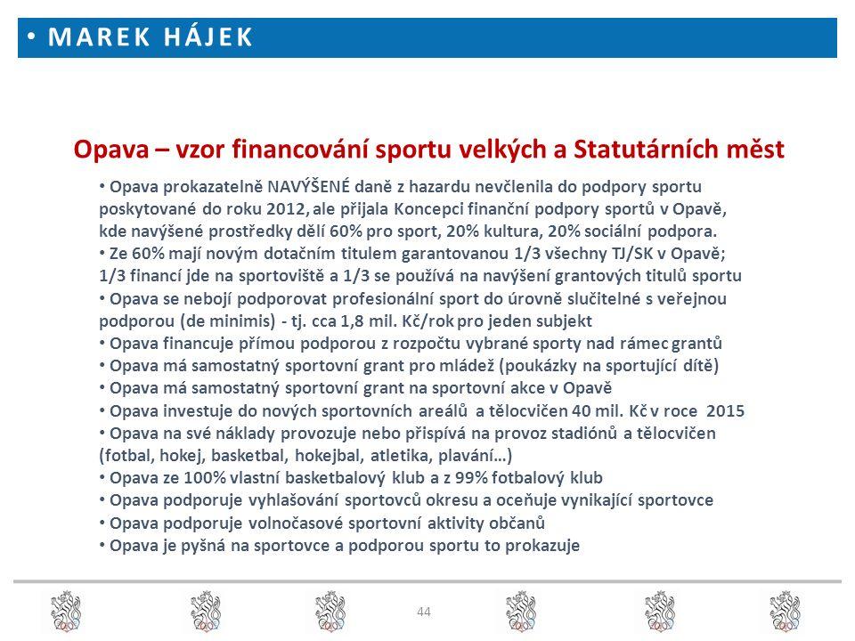 44 Opava – vzor financování sportu velkých a Statutárních měst Opava prokazatelně NAVÝŠENÉ daně z hazardu nevčlenila do podpory sportu poskytované do roku 2012, ale přijala Koncepci finanční podpory sportů v Opavě, kde navýšené prostředky dělí 60% pro sport, 20% kultura, 20% sociální podpora.