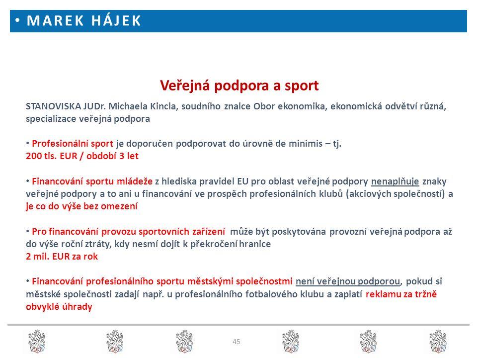 45 Veřejná podpora a sport STANOVISKA JUDr. Michaela Kincla, soudního znalce Obor ekonomika, ekonomická odvětví různá, specializace veřejná podpora Pr