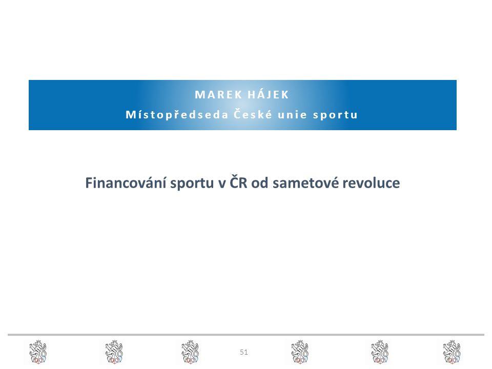 51 MAREK HÁJEK Místopředseda České unie sportu Financování sportu v ČR od sametové revoluce