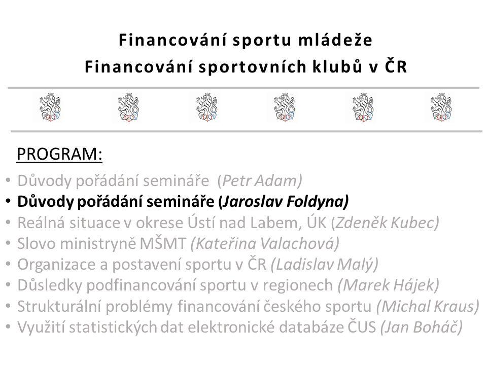 38 Strukturální problém financování sportu ČR Reprezentace, vrcholový sport (sportovní svazy): MŠMT: investice = 920 mil.