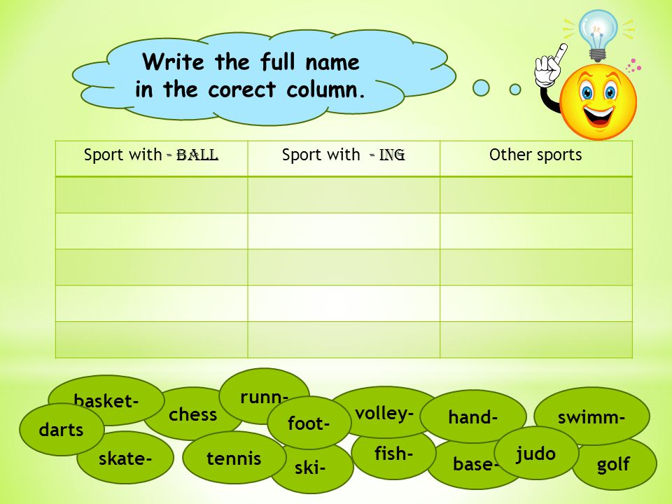 Sport with - BALL Sport with - ing Other sports Write the full name in the corect column.