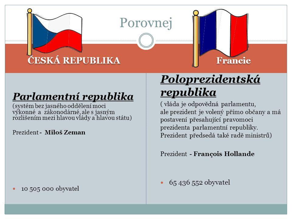 ČESKÁ REPUBLIKA Francie Parlamentní republika (systém bez jasného oddělení moci výkonné a zákonodárné, ale s jasným rozlišením mezi hlavou vlády a hla