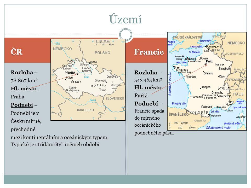 ČR Francie Rozloha – 78 867 km² Hl. město – Praha Podnebí – Podnebí je v Česku mírné, přechodné mezi kontinentálním a oceánickým typem. Typické je stř