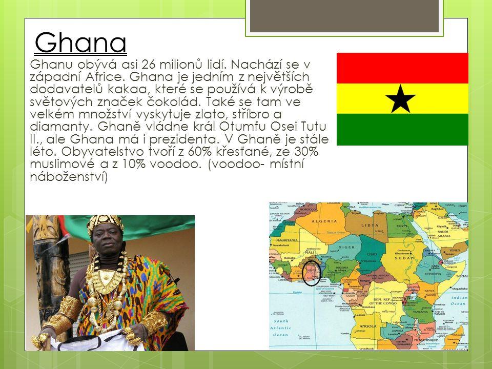 Ghana Ghanu obývá asi 26 milionů lidí. Nachází se v západní Africe.