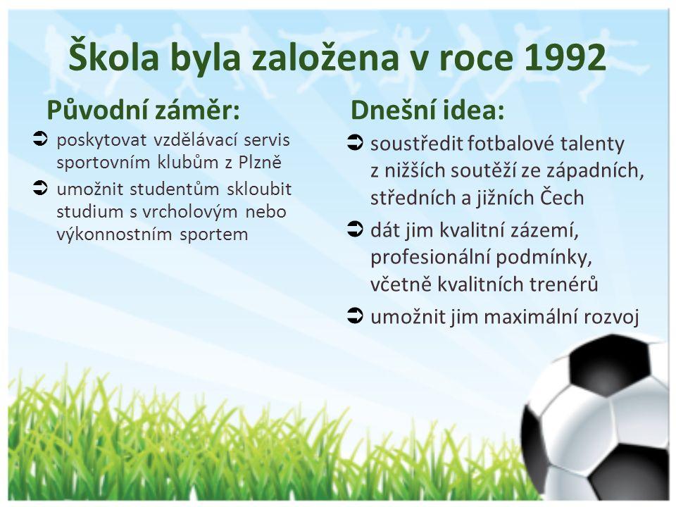 Původní záměr:  poskytovat vzdělávací servis sportovním klubům z Plzně  umožnit studentům skloubit studium s vrcholovým nebo výkonnostním sportem Dnešní idea:  soustředit fotbalové talenty z nižších soutěží ze západních, středních a jižních Čech  dát jim kvalitní zázemí, profesionální podmínky, včetně kvalitních trenérů  umožnit jim maximální rozvoj