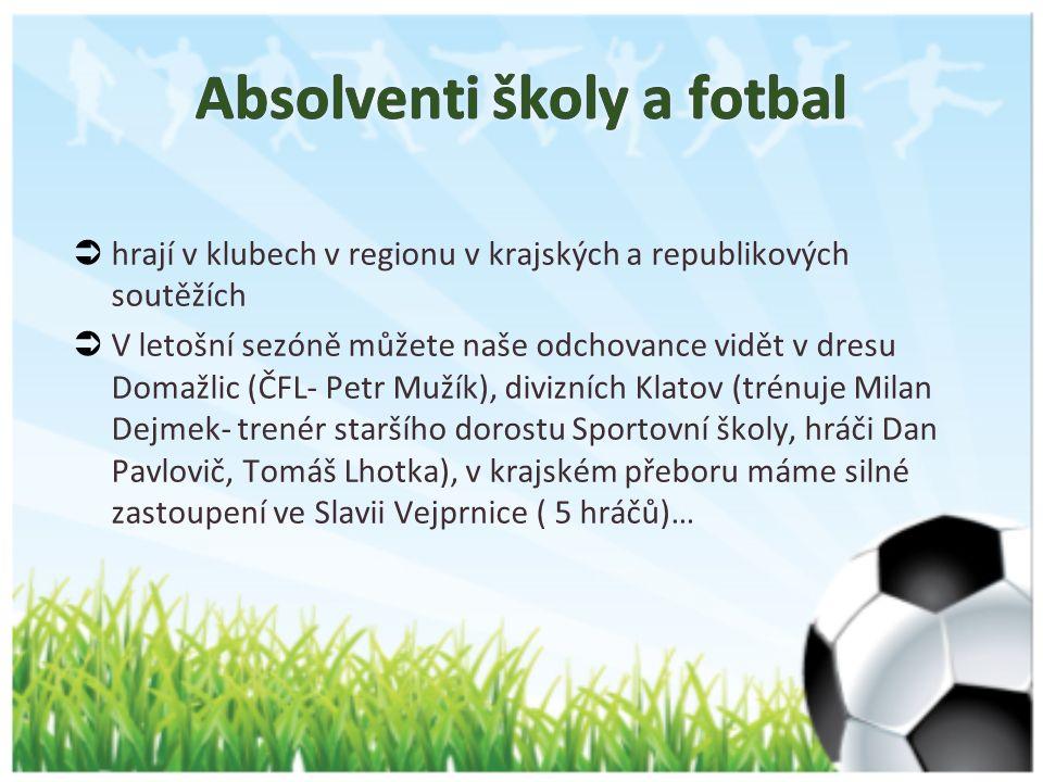  hrají v klubech v regionu v krajských a republikových soutěžích  V letošní sezóně můžete naše odchovance vidět v dresu Domažlic (ČFL- Petr Mužík), divizních Klatov (trénuje Milan Dejmek- trenér staršího dorostu Sportovní školy, hráči Dan Pavlovič, Tomáš Lhotka), v krajském přeboru máme silné zastoupení ve Slavii Vejprnice ( 5 hráčů)…