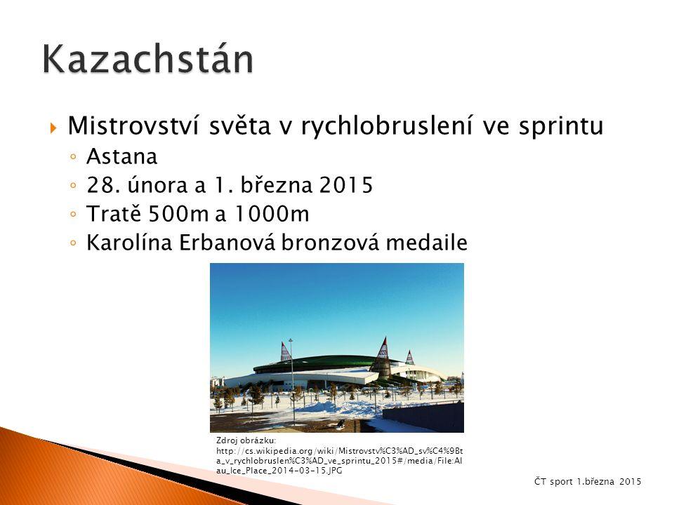  Mistrovství světa v rychlobruslení ve sprintu ◦ Astana ◦ 28. února a 1. března 2015 ◦ Tratě 500m a 1000m ◦ Karolína Erbanová bronzová medaile Zdroj