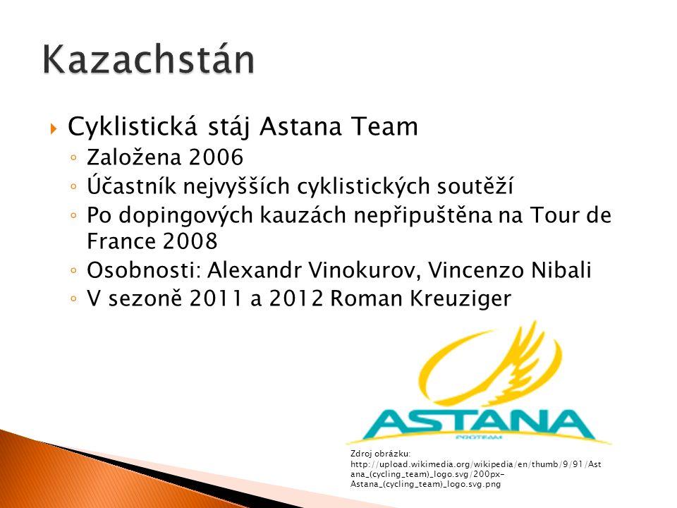  Cyklistická stáj Astana Team ◦ Založena 2006 ◦ Účastník nejvyšších cyklistických soutěží ◦ Po dopingových kauzách nepřipuštěna na Tour de France 2008 ◦ Osobnosti: Alexandr Vinokurov, Vincenzo Nibali ◦ V sezoně 2011 a 2012 Roman Kreuziger Zdroj obrázku: http://upload.wikimedia.org/wikipedia/en/thumb/9/91/Ast ana_(cycling_team)_logo.svg/200px- Astana_(cycling_team)_logo.svg.png