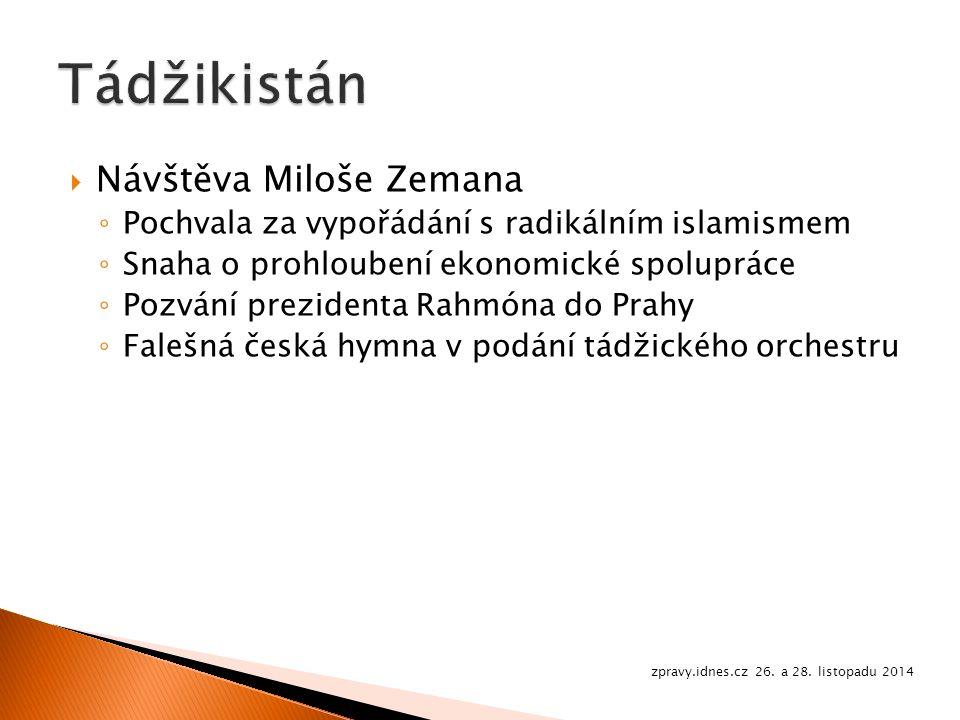  Návštěva Miloše Zemana ◦ Pochvala za vypořádání s radikálním islamismem ◦ Snaha o prohloubení ekonomické spolupráce ◦ Pozvání prezidenta Rahmóna do