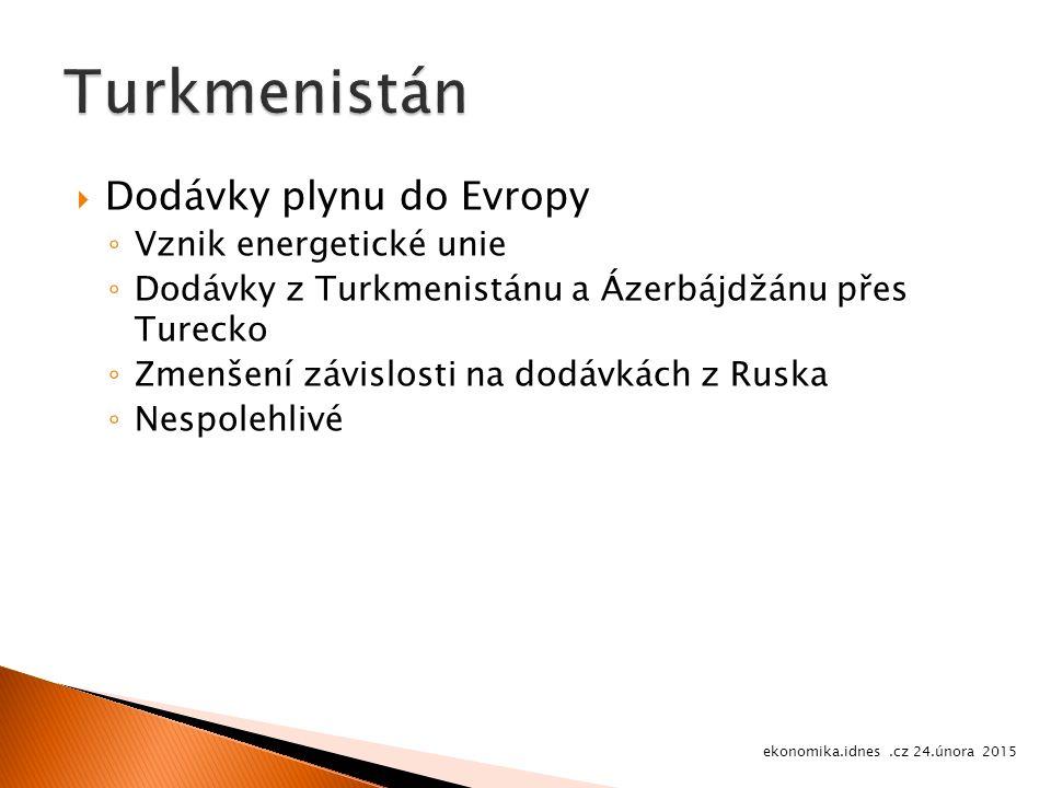  Dodávky plynu do Evropy ◦ Vznik energetické unie ◦ Dodávky z Turkmenistánu a Ázerbájdžánu přes Turecko ◦ Zmenšení závislosti na dodávkách z Ruska ◦ Nespolehlivé ekonomika.idnes.cz 24.února 2015