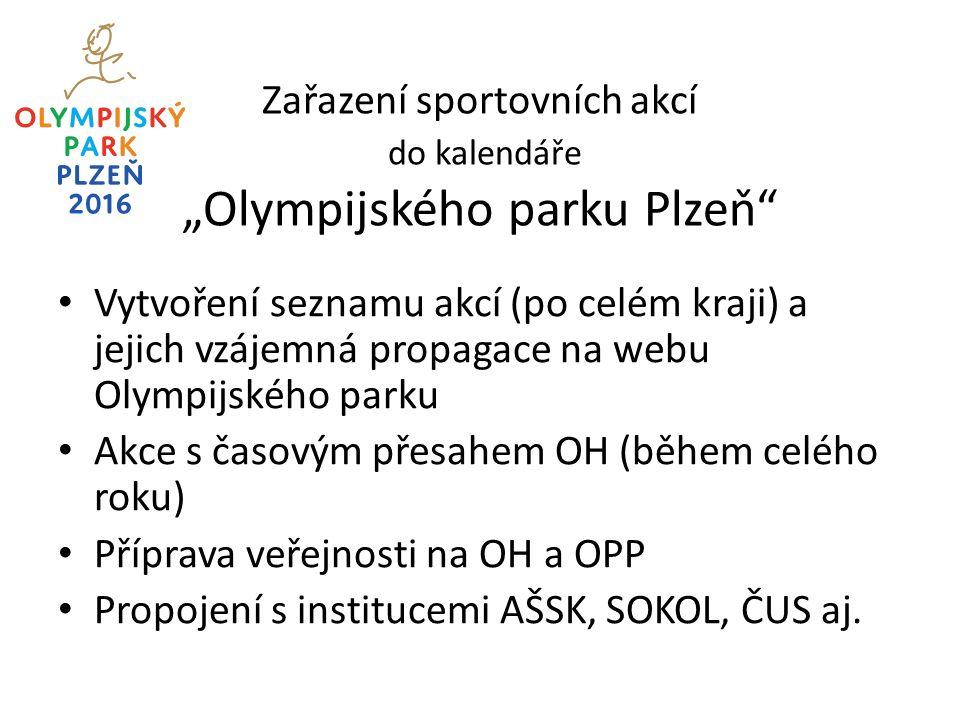 """Zařazení sportovních akcí do kalendáře """"Olympijského parku Plzeň Vytvoření seznamu akcí (po celém kraji) a jejich vzájemná propagace na webu Olympijského parku Akce s časovým přesahem OH (během celého roku) Příprava veřejnosti na OH a OPP Propojení s institucemi AŠSK, SOKOL, ČUS aj."""