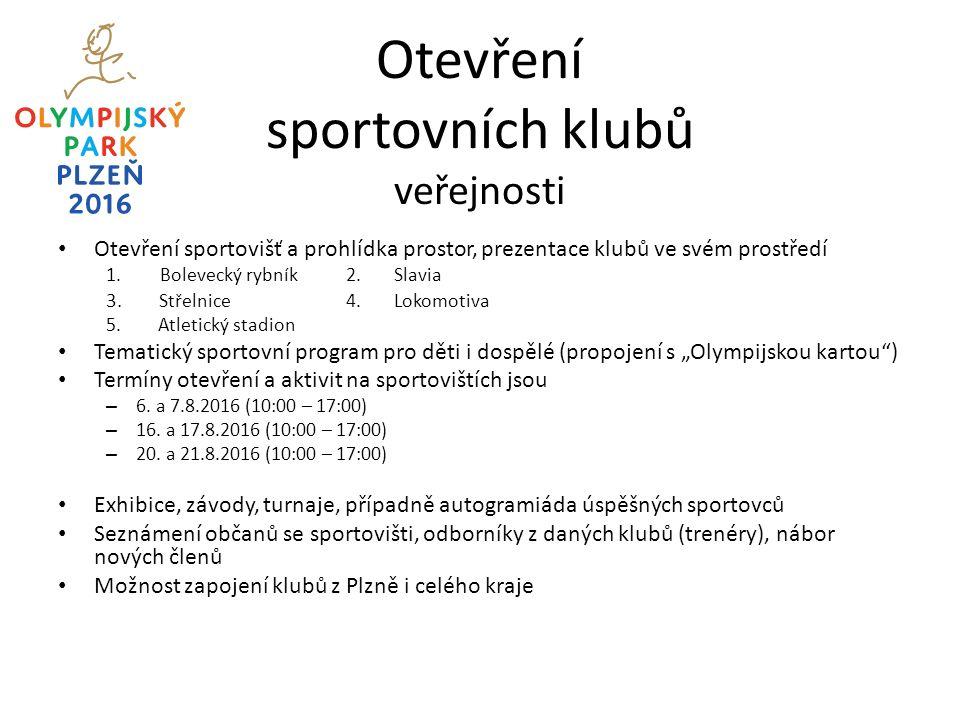 Otevření sportovních klubů veřejnosti Otevření sportovišť a prohlídka prostor, prezentace klubů ve svém prostředí 1.Bolevecký rybník2.Slavia 3.