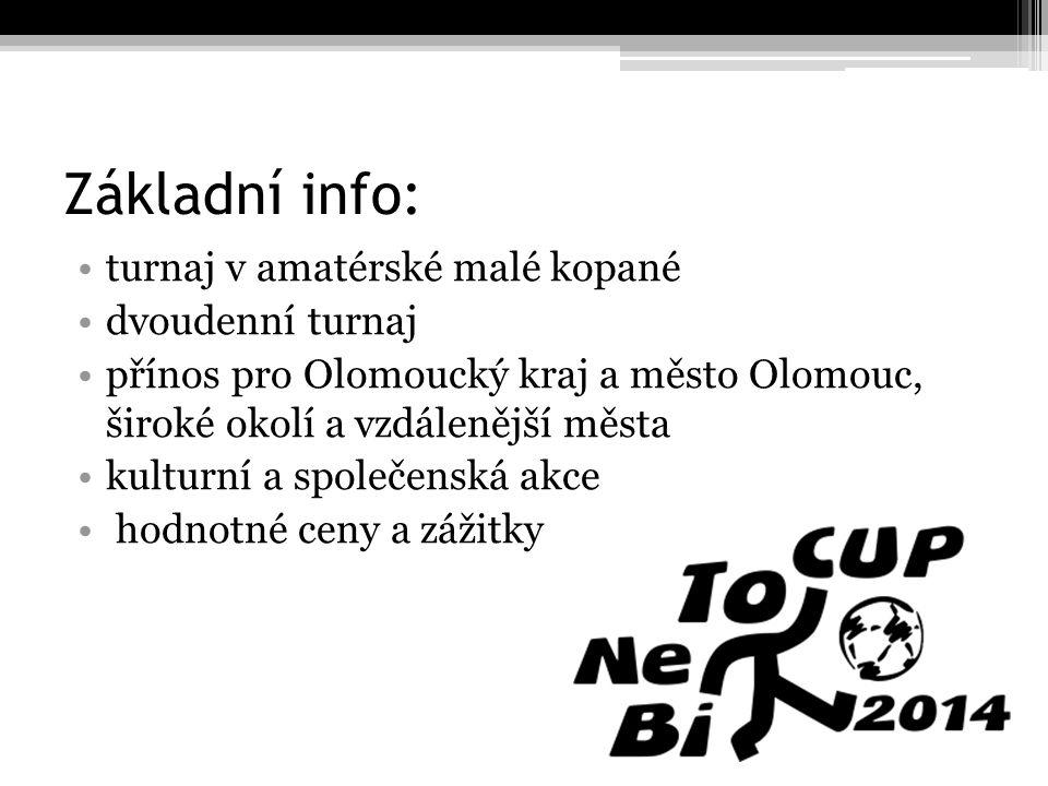 Základní info: turnaj v amatérské malé kopané dvoudenní turnaj přínos pro Olomoucký kraj a město Olomouc, široké okolí a vzdálenější města kulturní a