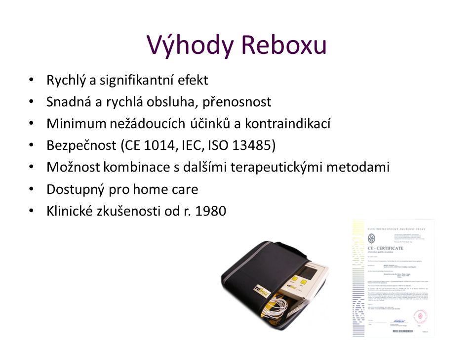 Výhody Reboxu Rychlý a signifikantní efekt Snadná a rychlá obsluha, přenosnost Minimum nežádoucích účinků a kontraindikací Bezpečnost (CE 1014, IEC, I