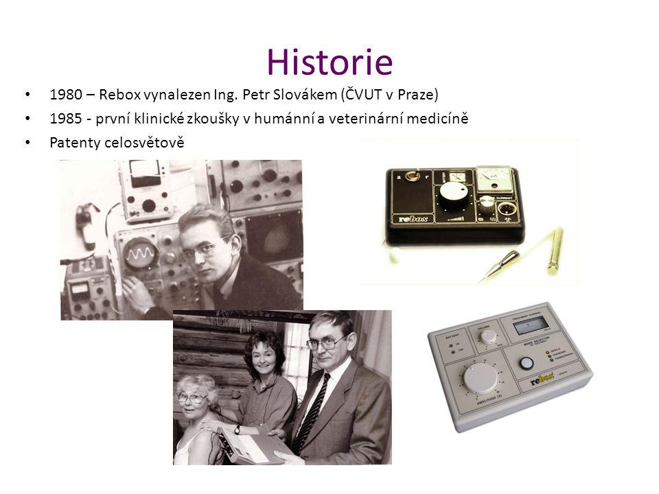 Historie 1980 – Rebox vynalezen Ing. Petr Slovákem (ČVUT v Praze) 1985 - první klinické zkoušky v humánní a veterinární medicíně Patenty celosvětově