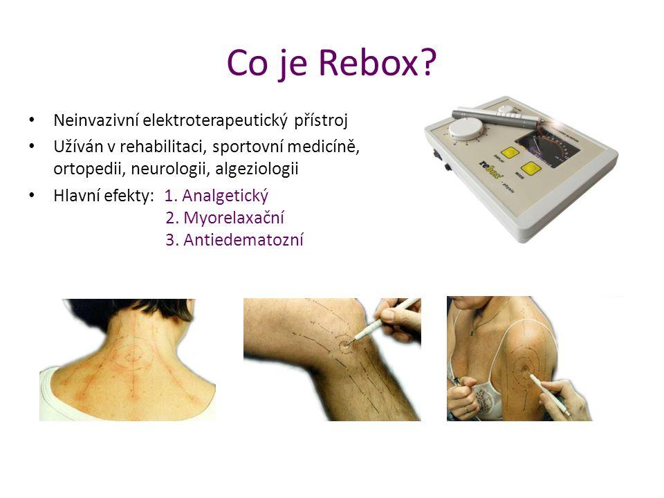 Co je Rebox? Neinvazivní elektroterapeutický přístroj Užíván v rehabilitaci, sportovní medicíně, ortopedii, neurologii, algeziologii Hlavní efekty: 1.
