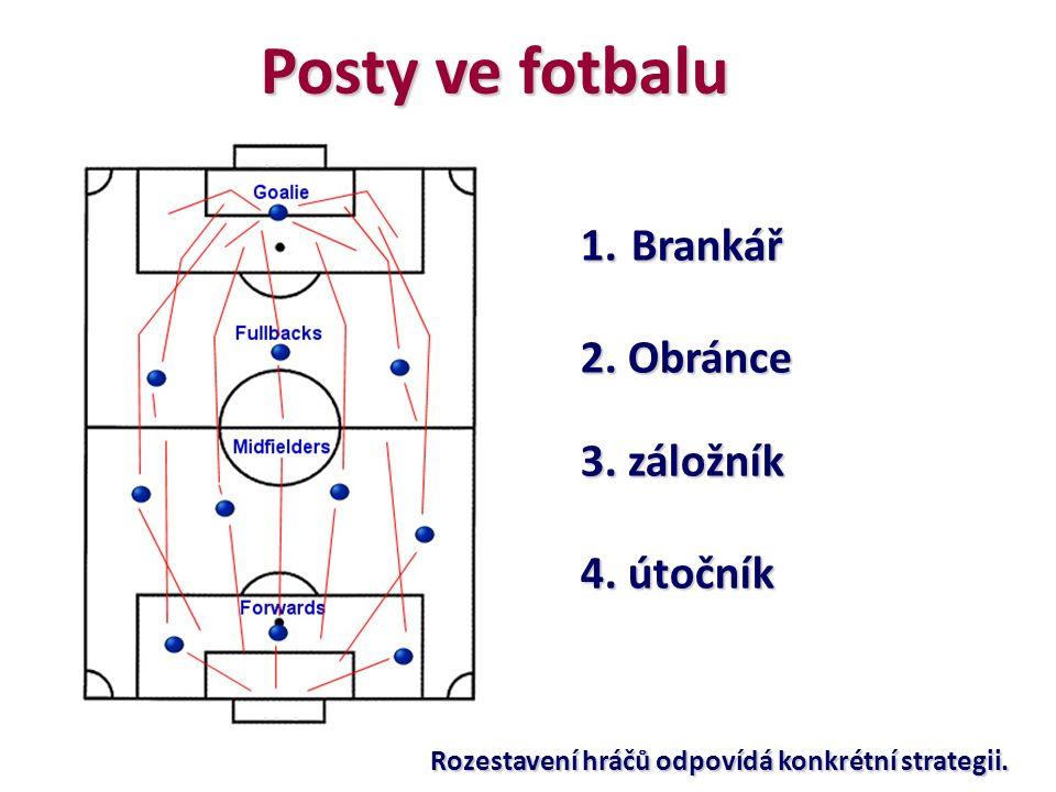 Posty ve fotbalu 1. Brankář 2. Obránce 3. záložník 4. útočník Rozestavení hráčů odpovídá konkrétní strategii.