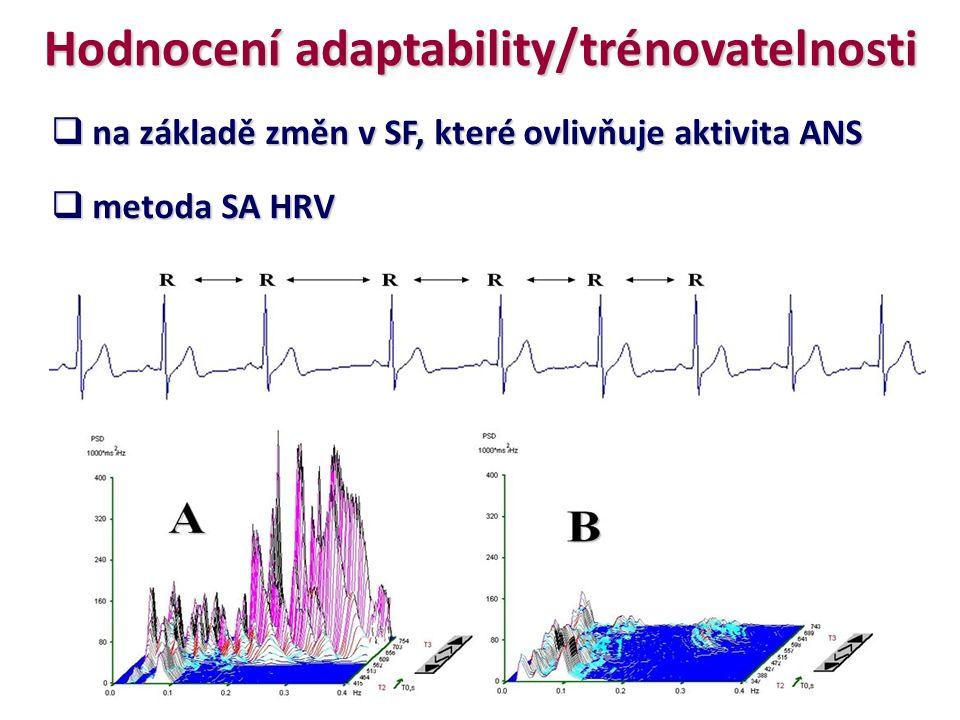 Hodnocení adaptability/trénovatelnosti  na základě změn v SF, které ovlivňuje aktivita ANS  metoda SA HRV