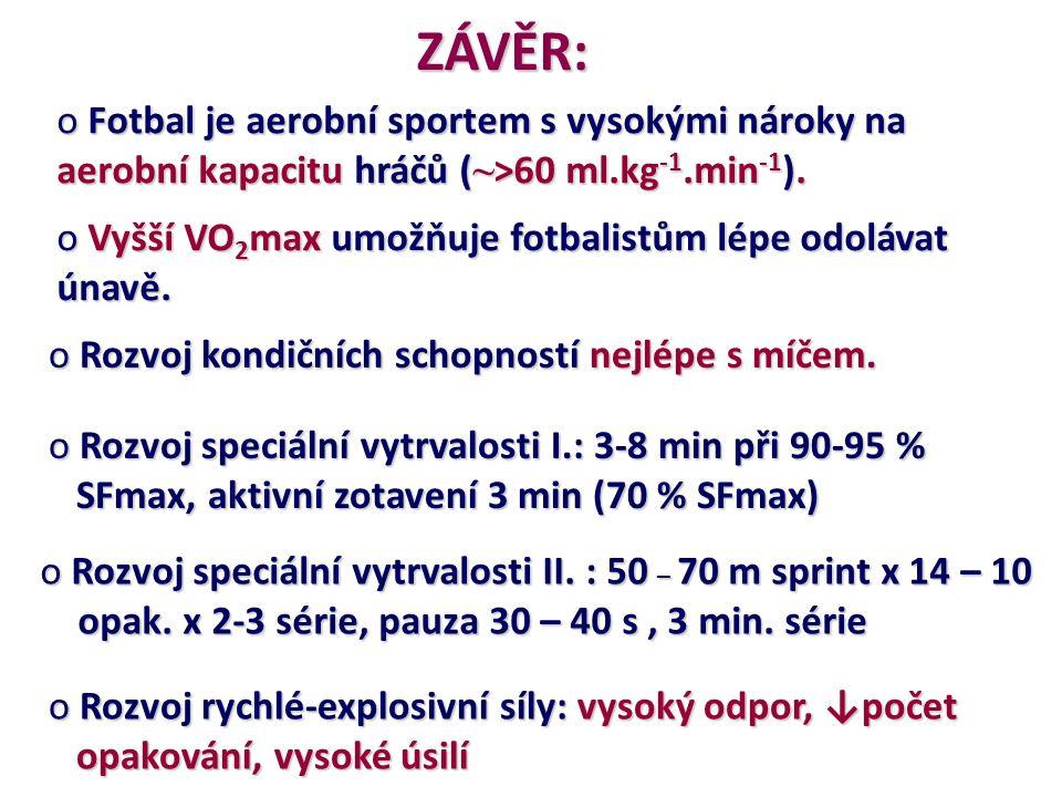 ZÁVĚR: o Fotbal je aerobní sportem s vysokými nároky na aerobní kapacitu hráčů ( ~ >60 ml.kg -1.min -1 ). o Vyšší VO 2 max umožňuje fotbalistům lépe o