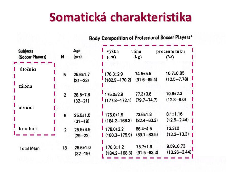 výškaváha procento tuku (cm) (kg) (%) útočníci záloha obrana brankáři Somatická charakteristika