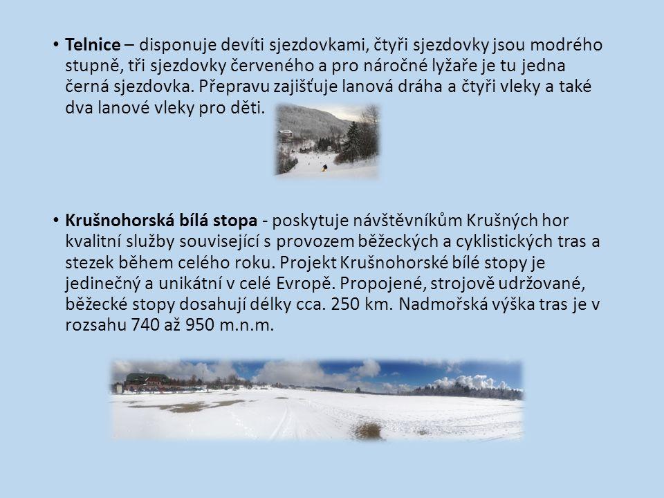 Telnice – disponuje devíti sjezdovkami, čtyři sjezdovky jsou modrého stupně, tři sjezdovky červeného a pro náročné lyžaře je tu jedna černá sjezdovka.