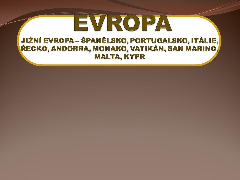Jižní Evropa Kolébka evropské civilizace antika (Řecko, Řím) středověk (Portugalsko, Španělsko) Převažuje hornatý povrch místy zemětřesná činnost Subtropické podnebí s nedostatkem srážek románské jazyky Závislost na cestovním ruchu