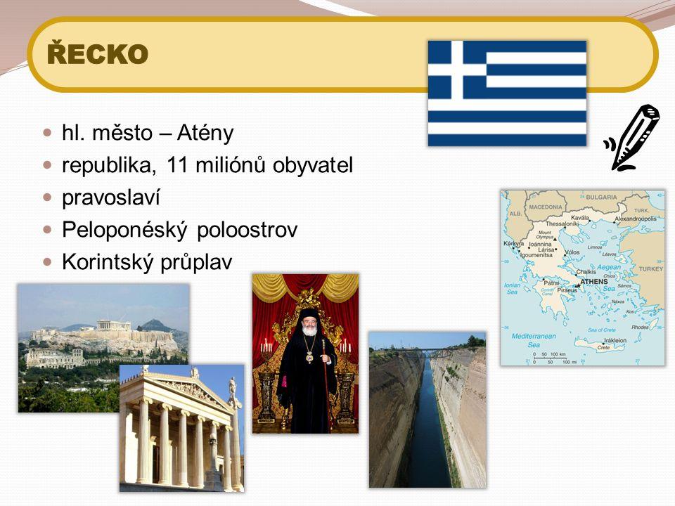 hl. město – Atény republika, 11 miliónů obyvatel pravoslaví Peloponéský poloostrov Korintský průplav