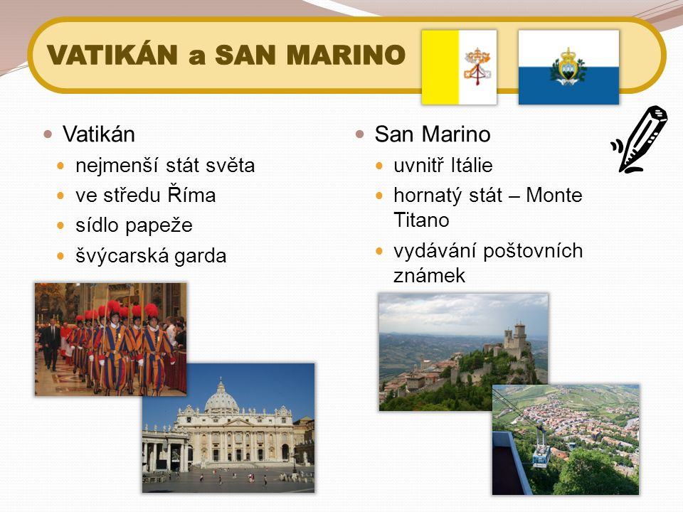 Vatikán nejmenší stát světa ve středu Říma sídlo papeže švýcarská garda San Marino uvnitř Itálie hornatý stát – Monte Titano vydávání poštovních známe