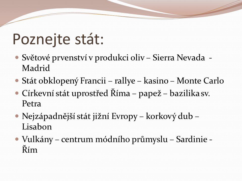 Poznejte stát: Světové prvenství v produkci oliv – Sierra Nevada - Madrid Stát obklopený Francii – rallye – kasino – Monte Carlo Církevní stát uprostřed Říma – papež – bazilika sv.