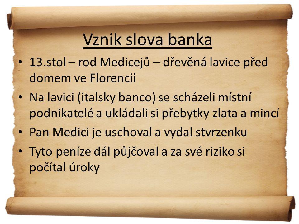 Podmínky pro vznik banky Bankou může být právnická osoba se sídlem v ČR, založena ve formě a.s.