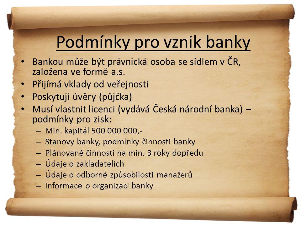 Dělení bank Podlespecializace: – spořitelny = služby občanům – Investiční banky = služby firmám Podle oboru (činnost) : – Exportní banky (úvěry ohledně výroby a exportu výrobků, hlavně do zahraničí) – Rozvojové banky (podpora malým podnikatelům formou výhodných úvěrů) – Hypoteční banky (zprostředkovávají půjčky na bydlení – hypotéky)