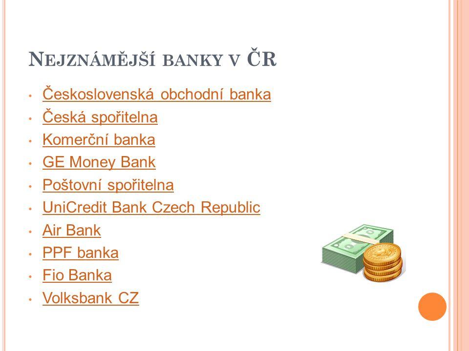 N EJZNÁMĚJŠÍ BANKY V ČR Československá obchodní banka Česká spořitelna Komerční banka GE Money Bank Poštovní spořitelna UniCredit Bank Czech Republic Air Bank PPF banka Fio Banka Volksbank CZ