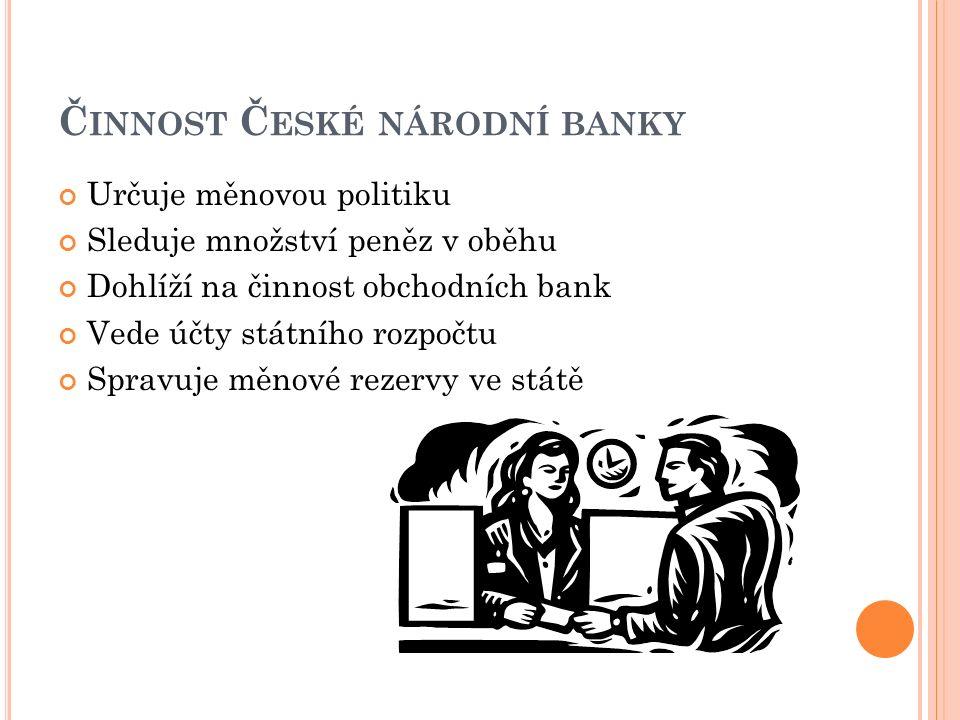 Č INNOST Č ESKÉ NÁRODNÍ BANKY Určuje měnovou politiku Sleduje množství peněz v oběhu Dohlíží na činnost obchodních bank Vede účty státního rozpočtu Spravuje měnové rezervy ve státě