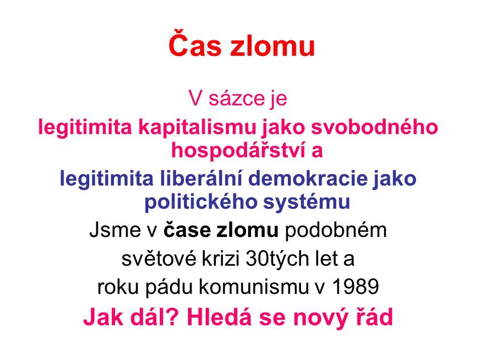 Čas zlomu V sázce je legitimita kapitalismu jako svobodného hospodářství a legitimita liberální demokracie jako politického systému Jsme v čase zlomu podobném světové krizi 30tých let a roku pádu komunismu v 1989 Jak dál.