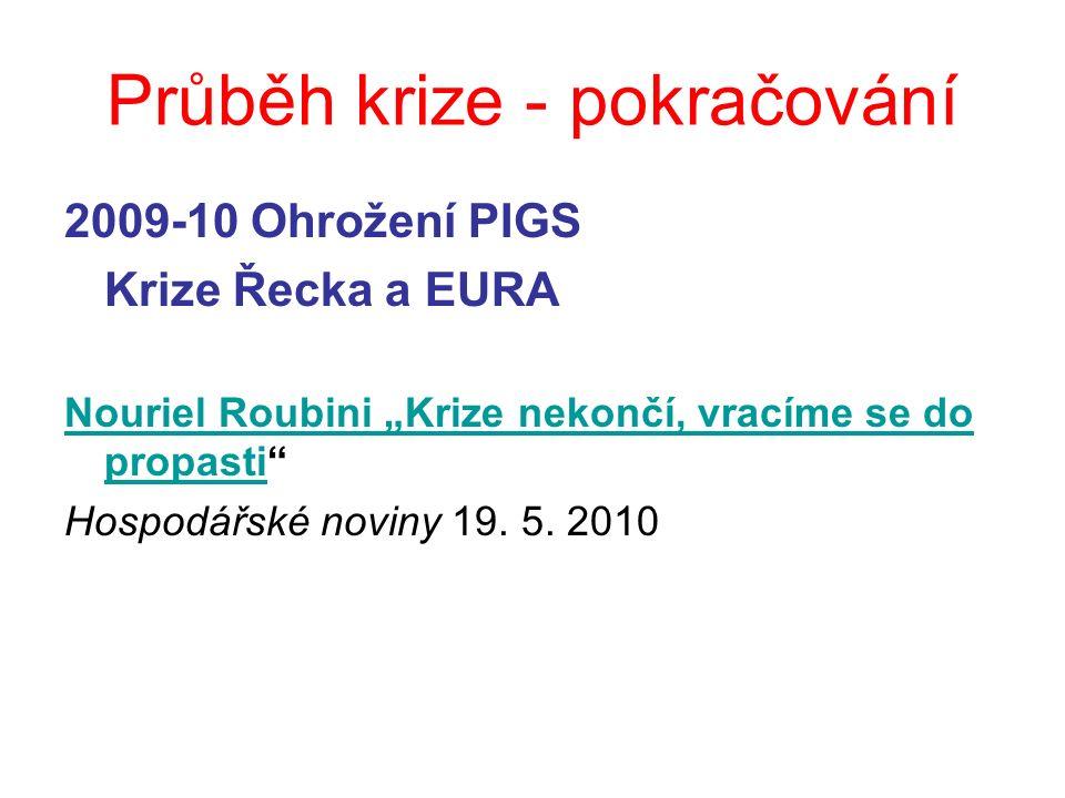 """Průběh krize - pokračování 2009-10 Ohrožení PIGS Krize Řecka a EURA Nouriel Roubini """"Krize nekončí, vracíme se do propastiNouriel Roubini """"Krize nekončí, vracíme se do propasti Hospodářské noviny 19."""