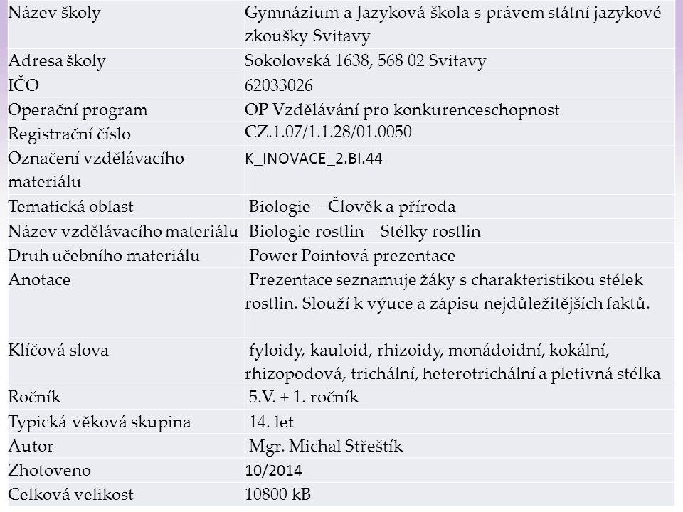 Gymnázium a Jazyková škola s právem státní jazykové zkoušky Svitavy Stélky rostlin 1