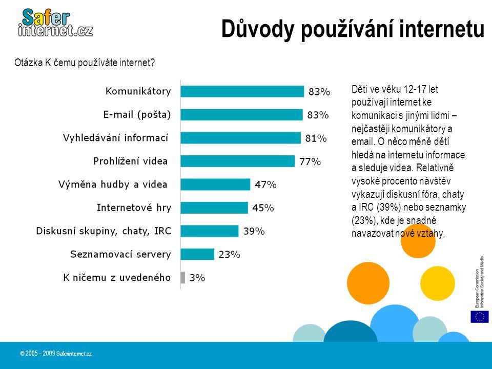 Důvody používání internetu © 2005 – 2009 Saferinternet.cz Děti ve věku 12-17 let používají internet ke komunikaci s jinými lidmi – nejčastěji komunikátory a email.