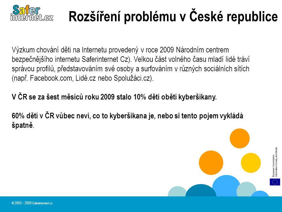 Rozšíření problému v České republice V ČR se za šest měsíců roku 2009 stalo 10% dětí obětí kyberšikany.