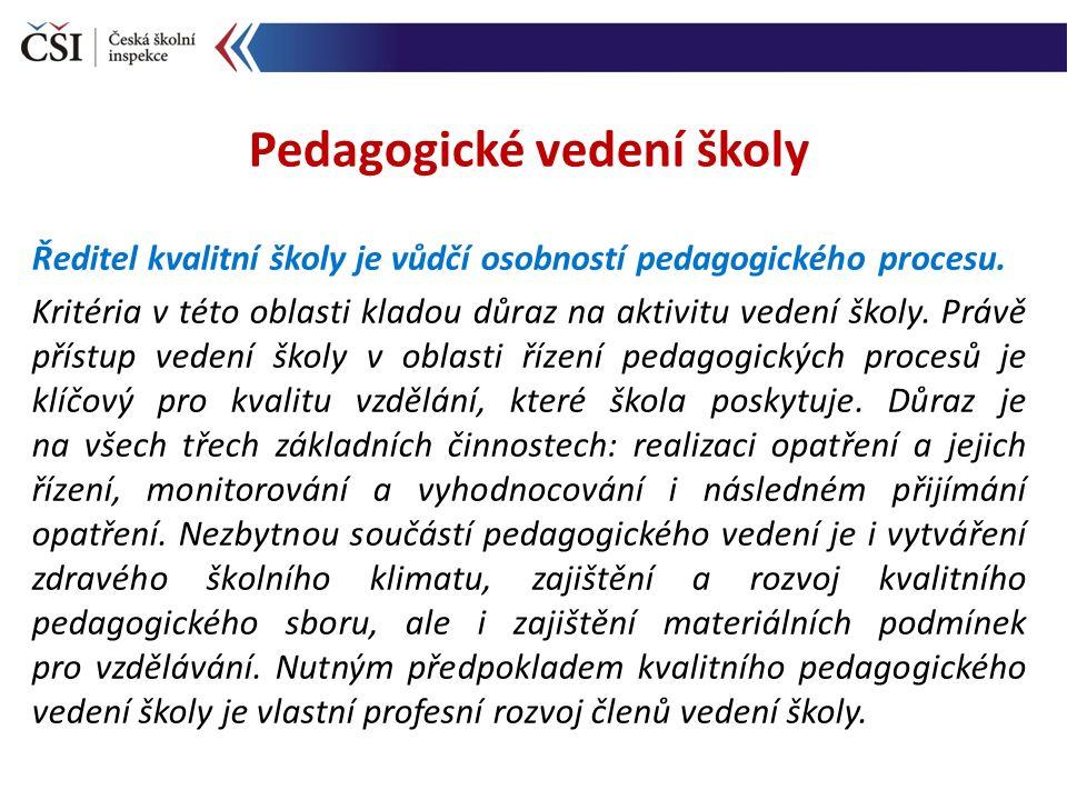 Ředitel kvalitní školy je vůdčí osobností pedagogického procesu. Kritéria v této oblasti kladou důraz na aktivitu vedení školy. Právě přístup vedení š