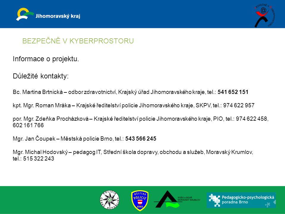 BEZPEČNĚ V KYBERPROSTORU Informace o projektu. Důležité kontakty: Bc.