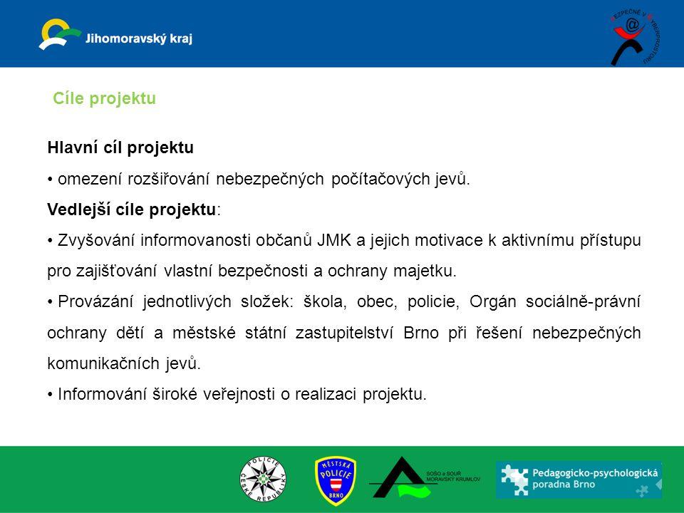 Hlavní cíl projektu omezení rozšiřování nebezpečných počítačových jevů. Vedlejší cíle projektu: Zvyšování informovanosti občanů JMK a jejich motivace