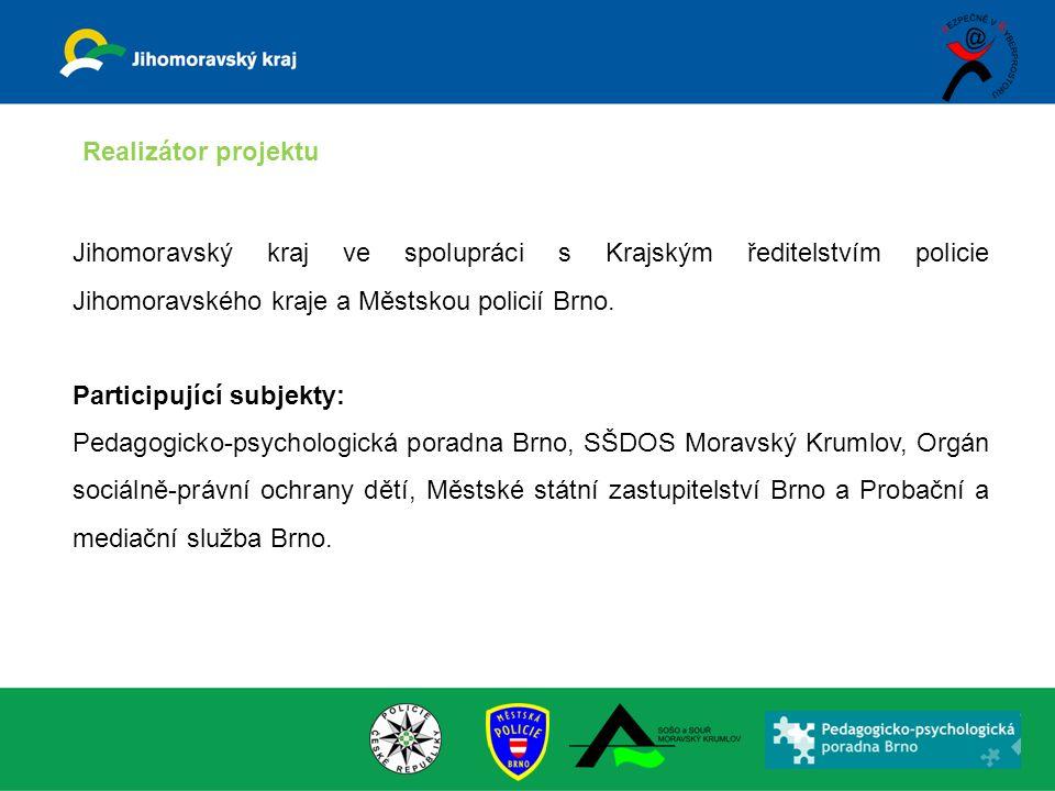 Jihomoravský kraj ve spolupráci s Krajským ředitelstvím policie Jihomoravského kraje a Městskou policií Brno. Participující subjekty: Pedagogicko-psyc